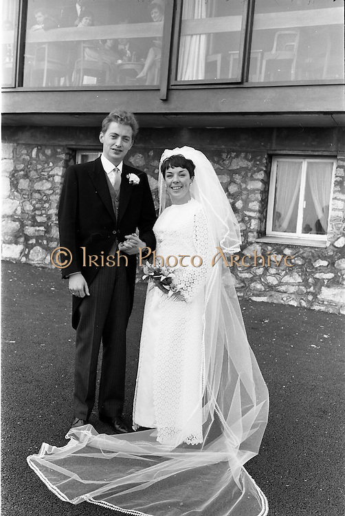 "16/09/1967<br /> 09/16/1967<br /> 16 September 1967<br /> Wedding of Mr Francis W. Moloney, 28 The Stiles Road, Clontarf and Ms Antoinette O'Carroll, ""Melrose"", Leinster Road, Rathmines at Our Lady of Refuge Church, Rathmines, with reception in Colamore Hotel, Coliemore Road, Dalkey. Image shows the Bride and Groom outside the hotel."