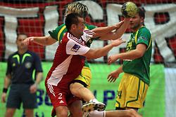 Boris Becirovic of Slovan vs Jure Dolenec of Merkur  at handball game RD Slovan vs RD Merkur  in 7th round of MIK First league, on October 24, 2008 in Ljubljana, Slovenia. (Photo by Vid Ponikvar / Sportal Images)