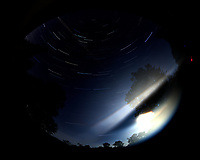 Star trails over New Jersey. Composite of images (01:30 to 02:29) taken with a Nikon D850 camera and 8-15 mm fisheye lens (ISO 100, 8 mm, f/4, 30 sec). Raw images processed with Capture One Pro, and the composite generated using Photoshop CC (statistics, maximum).