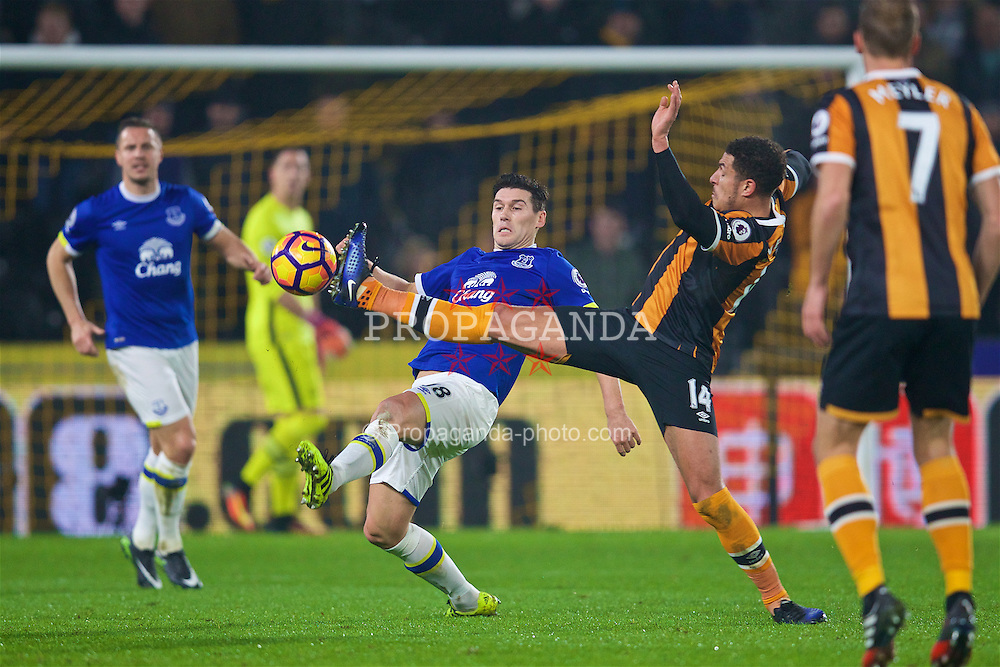 KINGSTON-UPON-HULL, ENGLAND - Friday, December 30, 2016: Everton's Gareth Barry in action against Hull City's Jake Livermore during the FA Premier League match at the KCOM Stadium. (Pic by David Rawcliffe/Propaganda)