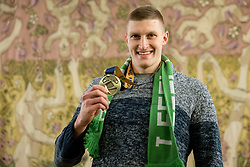 Blaz Blagotinsek posing with his bronze medal after he signed the City of Ljubljana's Golden Book during reception of Slovenian National Handball Men team after they placed third at IHF World Handball Championship France 2017, on January 30, 2017 in City hall, Ljubljana centre, Slovenia. Photo by Vid Ponikvar / Sportida