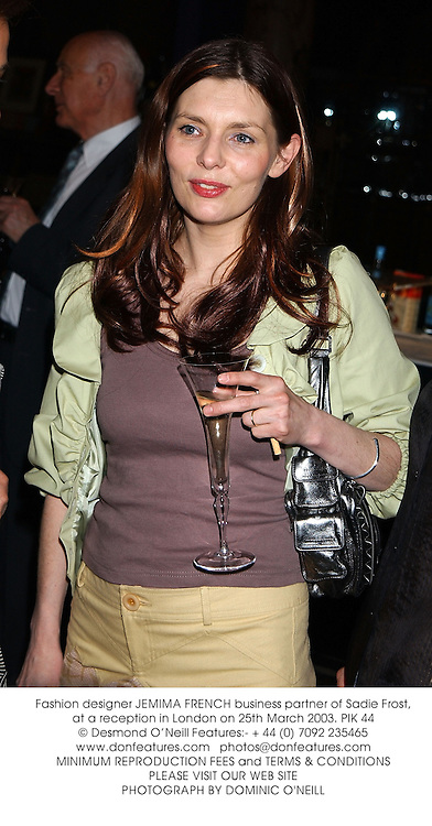 Fashion designer JEMIMA FRENCH business partner of Sadie Frost, at a reception in London on 25th March 2003.PIK 44