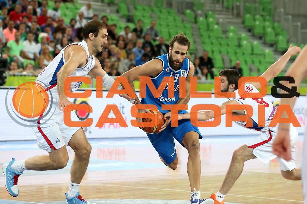 DESCRIZIONE : Lubiana Ljubliana Slovenia Eurobasket Men 2013 Finale Settimo Ottavo Posto Serbia Italia Final for 7th to 8th place Serbia Italy<br /> GIOCATORE : Luigi Datome <br /> CATEGORIA : palleggio dribble<br /> SQUADRA : Italia Italy<br /> EVENTO : Eurobasket Men 2013<br /> GARA : Serbia Italia Serbia Italy<br /> DATA : 21/09/2013 <br /> SPORT : Pallacanestro <br /> AUTORE : Agenzia Ciamillo-Castoria/ElioCastoria<br /> Galleria : Eurobasket Men 2013<br /> Fotonotizia : Lubiana Ljubliana Slovenia Eurobasket Men 2013 Finale Settimo Ottavo Posto Serbia Italia Final for 7th to 8th place Serbia Italy<br /> Predefinita :