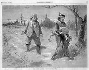 """the lover's quarrel- Now Blanche, Don't""  Blackville sketches in winter Harper's Weekly March, 1879 page  452 race relations, minority, black, African-American"