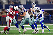 ARLINGTON, TX - AUGUST 26:  Mike White #3 of the Dallas Cowboy drops back to pass during a game against the Arizona Cardinals at AT&T Stadium during week 3 of the preseason on August 26, 2018 in Arlington, Texas.  The Cardinals defeated the Cowboys 27-3.  (Photo by Wesley Hitt/Getty Images) *** Local Caption *** Mike White