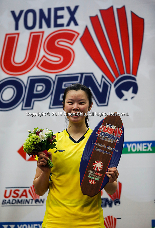 Li Xuerui (L) of China, poses in the podium after defeating Beiwen Zhang of USA, during the women's singles final match at the U.S. Open Badminton Championships in Fullerton, California on June 17, 2018. Li won 2-1. (Photo by Ringo Chiu)<br /> <br /> Usage Notes: This content is intended for editorial use only. For other uses, additional clearances may be required.