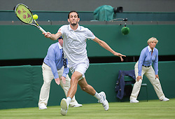 WIMBLEDON - UK - 27th June 2016: The Wimbledon Tennis Championships start at the All England Lawn Tennis Club, Wimbledon. S.E. London.<br /> <br /> Pic shows.;   James Ward (GB) plays Novak Djokovic watched by Pippa Middleton ( sister of Kate Middleton - HRH Duchess of Cambridge)<br /> Photo by Ian Jones