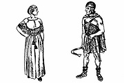 Reconstruction of costume of Germanic tribes in Ancient Roman times. Engraving.