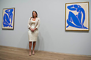 "Sophie Matisse, the artist's great grandaughter, launches the show - here with Blue Nude.Tate Modern's new exhibition, Henri Matisse: The Cut-Outs, is devoted to the artist's paper cut-outs made between 1943 and 1954. It brings together around 120 works, many seen together for the first time, in a ""groundbreaking"" reassessment of Matisse's colourful and innovative final works. The exhibition opens at Tate Modern on 17 April 2014. They were collected together in Jazz 1947 (Pompidou, Paris), a book of 20 plates. And this will be the first time that the maquettes and the book have been shown together outside of France. Other major cut-outs in the exhibition include Tate's The Snail 1953, its sister work Memory of Oceania 1953 and Large Composition with Masks 1953. The show also includes the largest number of Matisse's Blue Nudes ever exhibited together, including the most significant of the group Blue Nude I 1952. Tate Britain, London, UK."