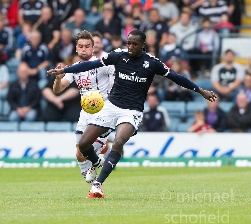 Ross County's Alex Schalk and Dundee's Scofien Moussa. half time : Dundee 0 v 1 Ross County, Scottish Premiership game played 5/8/2017 at Dundee's home ground Dens Park.