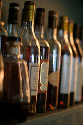 UK ENGLAND BERKSHIRE BRAY 28APR04 - Assortment of alcoholic beverages on a shelf at The Fat Duck restaurant in the village of Bray, Berkshire. The Fat Duck recently won the second best award amongst the world's best restaurants and was awarded its third Michelin Star in January.....jre/Photo by Jiri Rezac for Bild am Sonntag....© Jiri Rezac 2004....Contact: +44 (0) 7050 110 417..Mobile:  +44 (0) 7801 337 683..Office:  +44 (0) 20 8968 9635....Email:   jiri@jirirezac.com..Web:    www.jirirezac.com....© All images Jiri Rezac 2004 - All rights reserved.