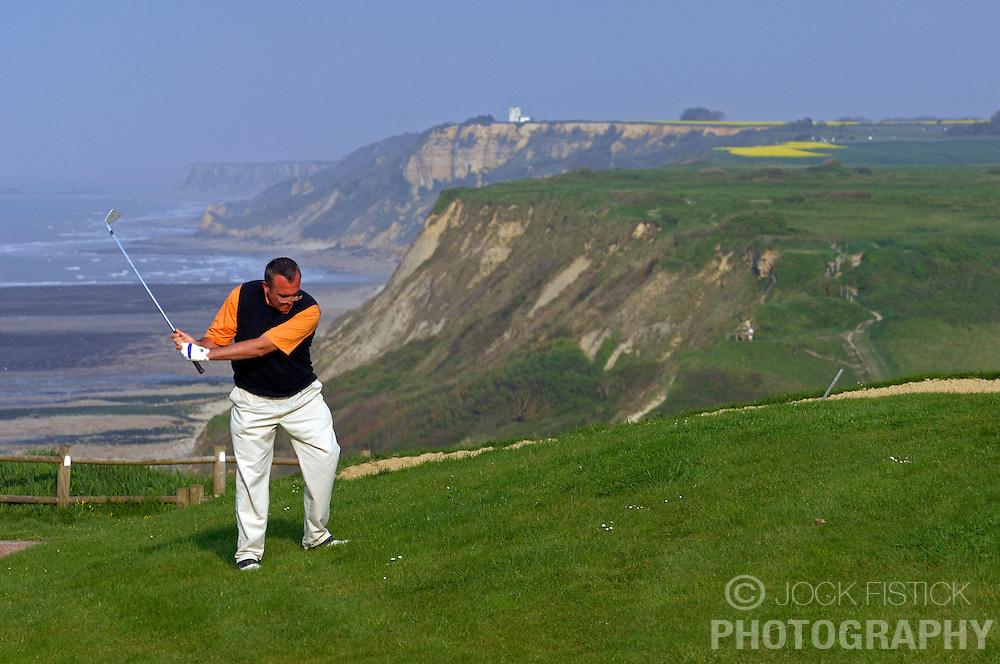 Photographed for Golf Magazine<br /> <br /> Omaha Beach Golf Club Pro Nicolas Poillot. Course: La Mer (The Sea) - Hole 6 - 469 yards - Par 4. (Photo &copy; Jock Fistick)