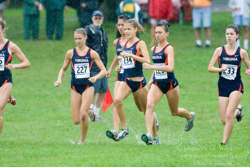 The Virginia women's team at the start.  The Lou Onesty Invitational Cross Country meet was hosted by the University of Virginia XC team and held at Panorama Farms near Charlottesville, VA on September 6, 2008.  Athletes endured rain and wind from Tropical Storm Hanna during the race.
