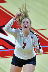 BLOOMINGTON, IL - October 12: Kendal Meier during a college Women's volleyball match between the ISU Redbirds and the Valparaiso Crusaders on October 12 2018 at Illinois State University in Bloomington, IL. (Photo by Alan Look)