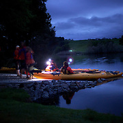 Kayakers on the glowworm tour with Waimarino adventure tours, 3rd December, 2010 .New Zealand,,  Photo Tim Clayton.