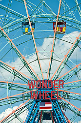 The famous Wonder Wheel amusement ride at Coney Island, in Brooklyn New York
