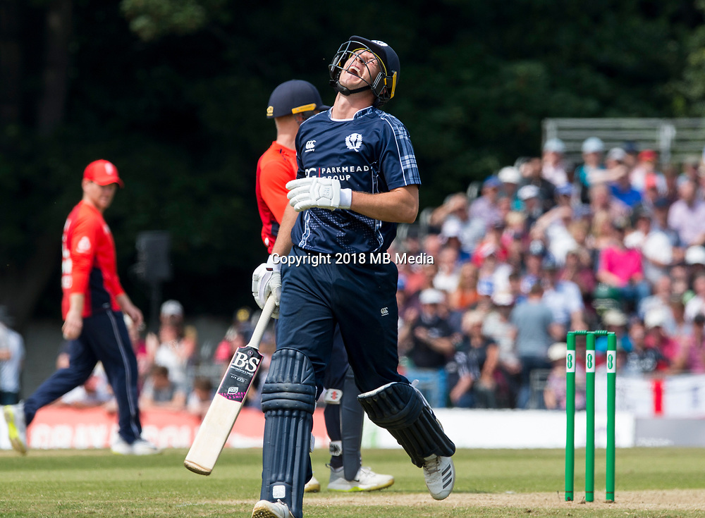 EDINBURGH, SCOTLAND - JUNE 10: Scotland's George Munsey reaches 50 during the first innings of the one-off ODI at the Grange Cricket Club on June 10, 2018 in Edinburgh, Scotland. (Photo by MB Media/Getty Images)