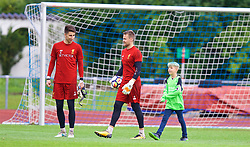 ROTTACH-EGERN, GERMANY - Friday, July 28, 2017: Liverpool's goalkeepers Kamil Grabara and Simon Mignolet with a supporter during a training session at FC Rottach-Egern on day three of the preseason training camp in Germany. (Pic by David Rawcliffe/Propaganda)