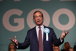 © Licensed to London News Pictures. 21/05/2019. London, UK. Brexit Party leader Nigel Farage speaks at a European Election rally at Olympia in London. Voters are due to go to the polls in two days. Photo credit: Peter Macdiarmid/LNP
