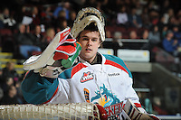 KELOWNA, CANADA, FEBRUARY 15: Adam Brown #1 of the Kelowna Rockets takes a time out at the Kelowna Rockets on February 15, 2012 at Prospera Place in Kelowna, British Columbia, Canada (Photo by Marissa Baecker/Shoot the Breeze) *** Local Caption ***