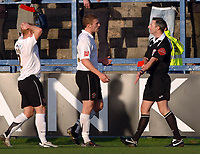 Photo: Paul Greenwood.<br />Macclesfield Town v Hereford United. Coca Cola League 2. 20/01/2007. Heresford's Andy Ferrell, left, holds his head in disbelief as Referee Mr C W Oliver sends him off