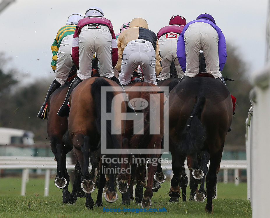 Picture by Lorraine O'Sullivan/Focus Images Ltd +353 872341234<br /> 01/12/2013<br /> Th runners and riders pass the finish line on the first circuit of  The Bar One Racing Royal Bond Novice Hurdle at Fairyhouse Races at Fairyhouse Racecourse, Ratoath.