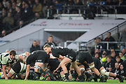 Twickenham, Surrey. England.    All Black. Rawera KERR-BARLOW, play's the ball out from the back of the scrum, during the Killik Cup, Barbarians vs New Zealand. Twickenham. UK<br /> <br /> Saturday  04.11.17<br /> <br /> [Mandatory Credit Peter SPURRIER/Intersport Images]