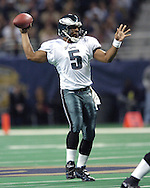 Philadelphia quarterback Donovan McNabb gets ready to throw the ball down field, during the first quarter against the St. Louis Rams at the Edward Jones Dome in St. Louis, Missouri.  The Rams beat the Eagles 20-7 on December 27, 2004.