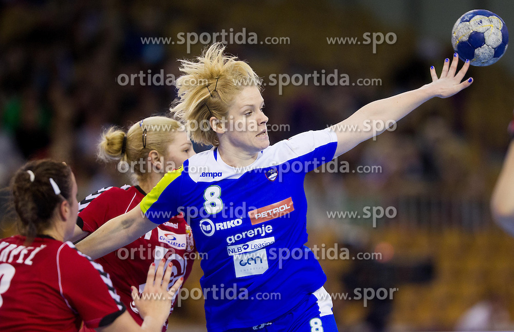Neza Mitrusevska of Slovenia during handball match between Women National teams of Slovenia and Serbia in 2nd Round of Qualifications for 2014 EHF European Championship on October 27, 2013 in Hala Tivoli, Ljubljana, Slovenia. (Photo by Vid Ponikvar / Sportida)