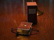 Lincoln's Inaugural Bible.   President Elect Barak Obama will take the oath of office as the 44th President of the United States using Lincoln's Bible. The Bible was exhibited for the media at the Library of Congress in Washington, DC on December 23, 2008.  Photograph by Dennis Brack