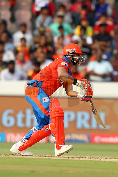 Suresh Raina captain of Gujrat Lions during match 6 of the Vivo 2017 Indian Premier League between the Sunrisers Hyderabad and the Gujarat Lions held at the Rajiv Gandhi International Cricket Stadium in Hyderabad, India on the 9th April 2017Photo by Prashant Bhoot - IPL - Sportzpics
