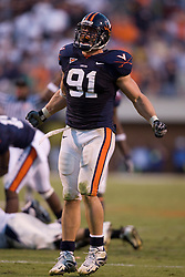 Virginia defensive end Chris Long (91) celebrates after a key defensive play late in the 4th quarter.  The Virginia Cavaliers defeated the Connecticut Huskies 17-16 at Scott Stadium in Charlottesville, VA on October 13, 2007