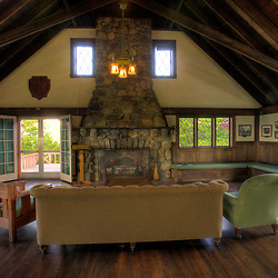 The great room in the Weeks Estate lodge at the John Wingate Weeks State Historic Site.  Lancaster, New Hampshire.