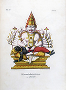 Vishnu, one of the gods of the Hindu trinity (trimurti) in his fourth avatar as Narashima the man lion. Lithograph from 'L'Inde Francaise', 1828.