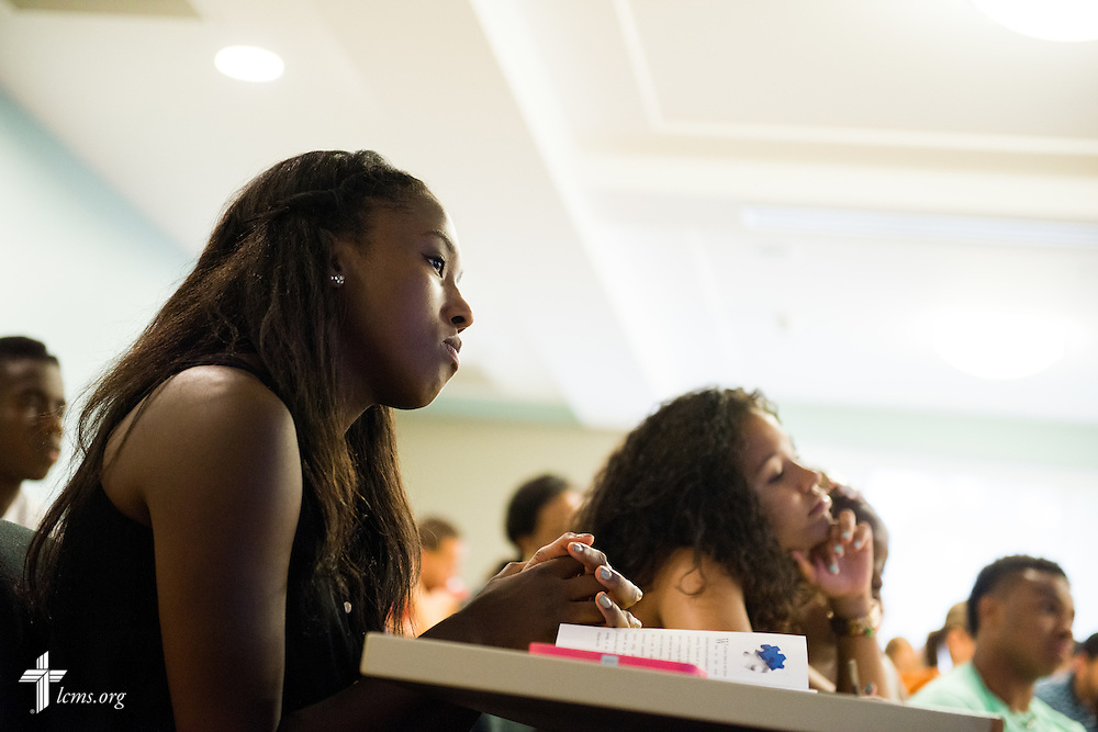 Students listen during a classroom orientation activity at Concordia College New York on Saturday, July 19, 2014, in Bronxville, NY. LCMS Communications/Erik M. Lunsford