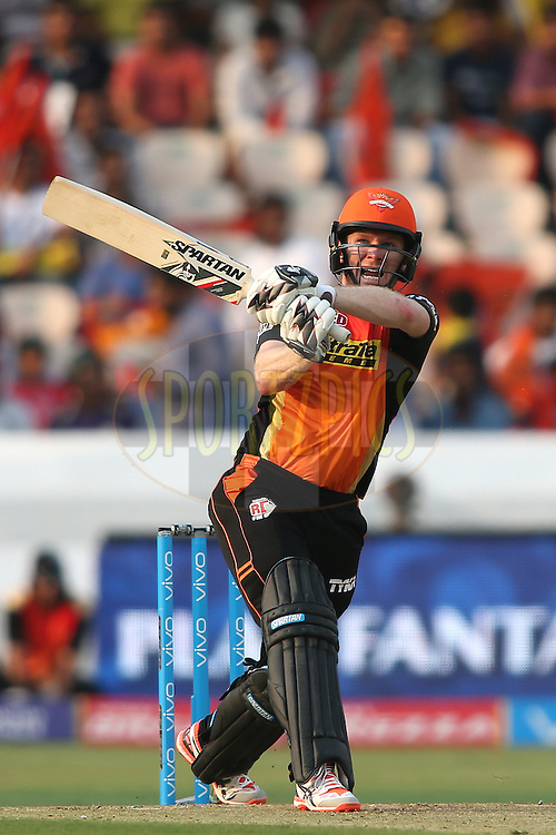 Eoin Morgan of Sunrisers Hyderabad pulls a delivery for 6 during match 8 of the Vivo IPL 2016 (Indian Premier League) between the Sunrisers Hyderabad and the Kolkata Knight Riders held at the Rajiv Gandhi Intl. Cricket Stadium, Hyderabad on the 16th April 2016<br /> <br /> Photo by Shaun Roy/ IPL/ SPORTZPICS