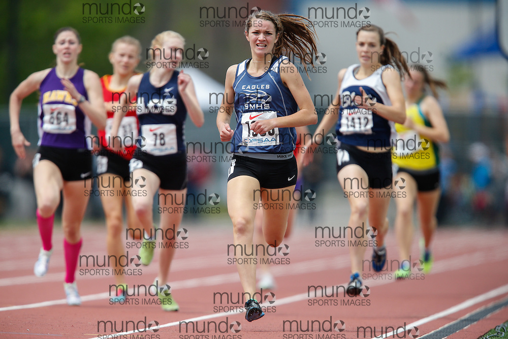 Jaimie Phelan of St Mary's High School in Kitchener runs to victory in the senior girls 800m at the 2013 OFSAA Track and Field Championship in Oshawa Ontario, Saturday,  June 8, 2013.<br /> Mundo Sport Images/ Geoff Robins