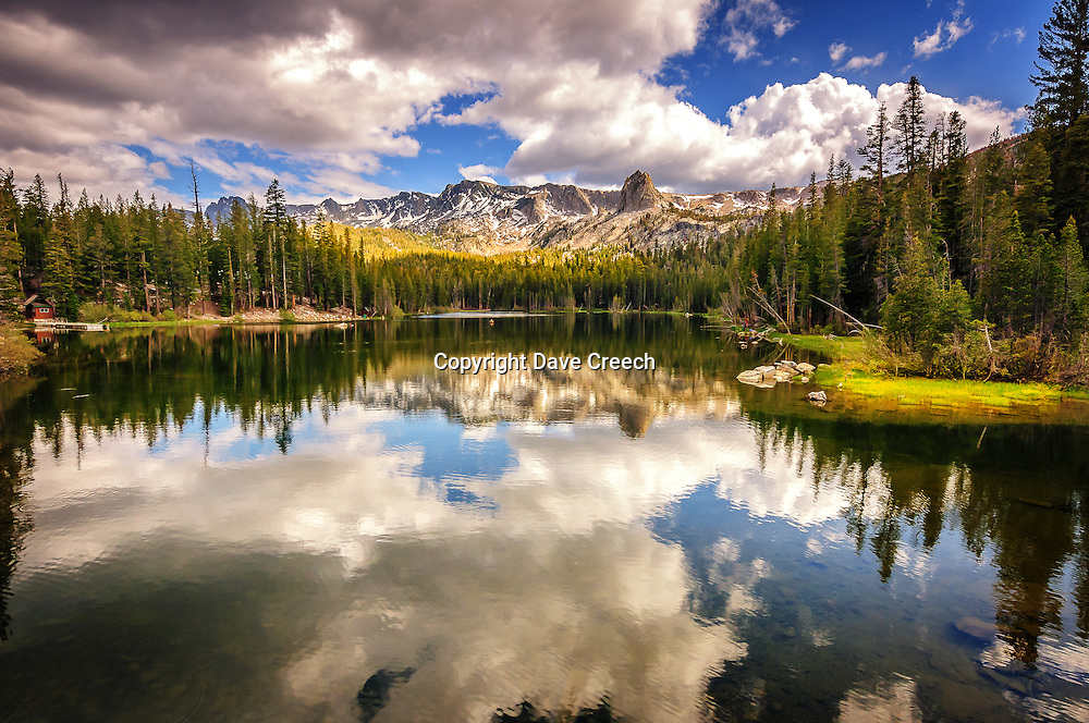 Reflected scene over Lake Mamie at Mammoth Lakes, California