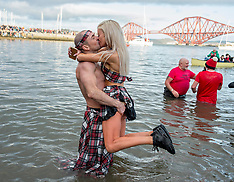Annual Loony Dook New Years Day swim, South Queensferry, 1 January 2019