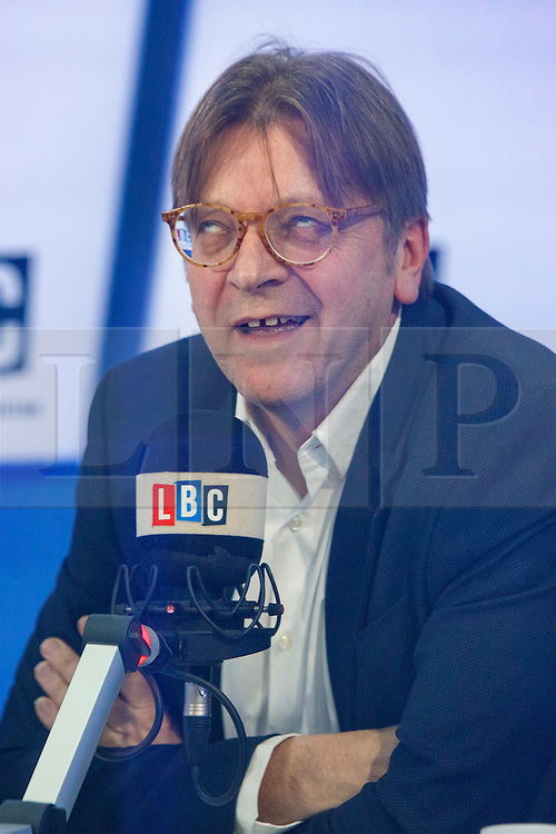 © Licensed to London News Pictures. 31/01/2017. London, UK. The European Parliament's chief Brexit negotiator GUY VERHOFSTADT is interviewed on the LBC radio by presenter Matt Frei in London on 31 January 2017. Photo credit: Tolga Akmen/LNP