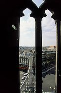 France. Paris. elevated view. The boulevard of Stasbourg and Sebastopol  View from  Saint Laurent church bell tower 75010 Paris. view from the spire