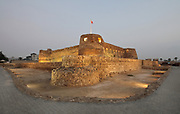 Arad fort, a small defensive Islamic fort built in the 15th century, in Arad, Muharraq island, Bahrain. The fort was built by the Jabrid Bedouin dynasty to fortify the small island off Bahrain, and it was subsequently taken by the Portuguese and the Persians. The fort was restored in 1980. Picture by Manuel Cohen