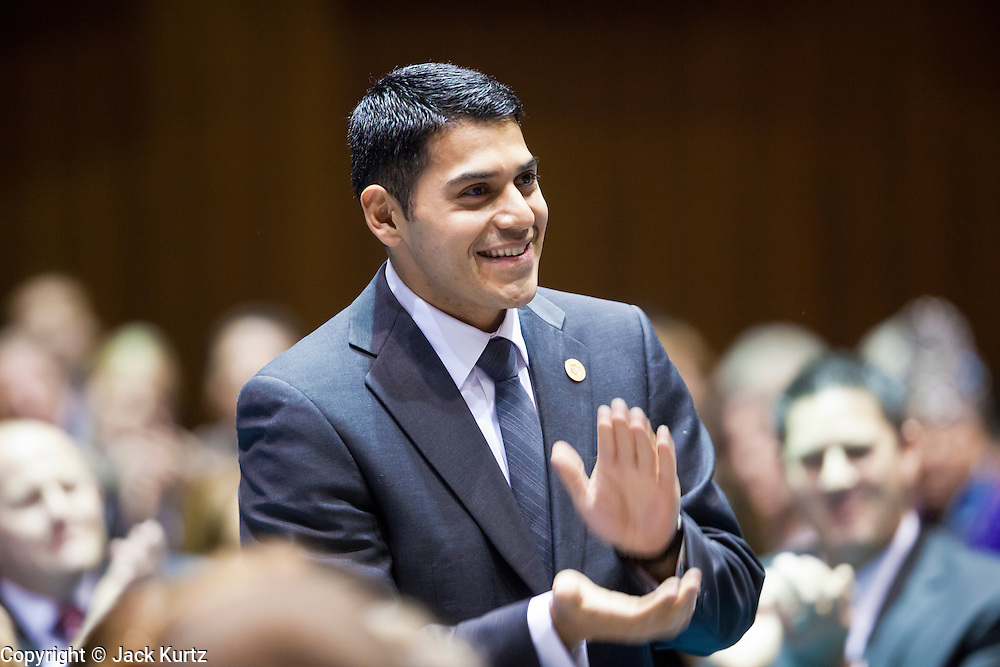 09 JANUARY 2012 - PHOENIX, AZ:   Republican State Rep Steve Montenegro at the state legislature Monday. Gov Brewer delivered her State of the State inside while outside representatives of interest groups picketed and protested.  The Arizona legislature started its 2012 session and Gov. Jan Brewer delivered her State of the State Monday, Jan 9.                   PHOTO BY JACK KURTZ