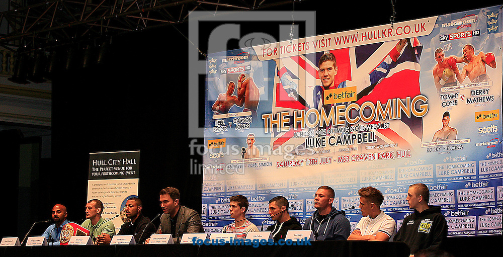 Picture by Richard Gould/Focus Images Ltd +44 7855 403186<br /> 22/06/2013<br /> Eddie Hearn (4L) speaks about the big fight pictured during a press conference at Hull City Hall.