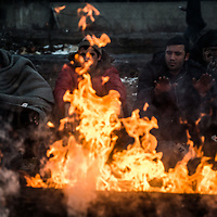 Belgrade 18-01-2017 Hundreds of refugees and migrants have been stuck for months in the old train station of Belgrade due to the blockade of borders with Croatia and Hungary. They live in inhuman conditions and face temperatures that touch at least twenty degrees.