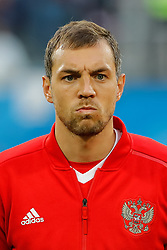June 19, 2018 - Saint Petersburg, Russia - Artem Dzyuba of Russia national team during the 2018 FIFA World Cup Russia group A match between Russia and Egypt on June 19, 2018 at Saint Petersburg Stadium in Saint Petersburg, Russia. (Credit Image: © Mike Kireev/NurPhoto via ZUMA Press)