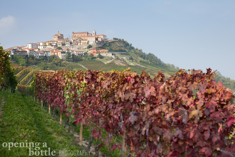 Red foliage of nebbiolo grape vines are seen in the vineyards below the town of La Morra, a popular destination in the Barolo wine country of Piedmont, Italy.