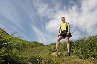 Hiker in countryside portrait