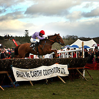 Derek O' Connor and Wishfull Thinking sail home to win the second at the Dromoland Point to Point on Sunday.<br /><br />Photograph by Yvonne Vaughan.