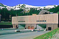 East portal of the Eisenhower-Johnson Tunnel which passes below the Continental Divide along Interstate 70.  Front Range Mountains, Colorado